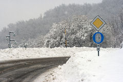 Road sign reminding drivers to use tire chains Stock Image