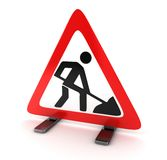 Road sign. Repair road  (done in 3d Stock Photography