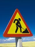 Road sign repairs. The road a sign repairs Stock Photos