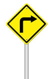 Road Sign - Right Turn Warning Royalty Free Stock Photo