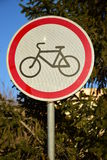 Road sign ROAD CLOSED TO BICYCLES Stock Photo