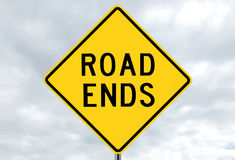 Road sign - road ends in clouds Royalty Free Stock Photography