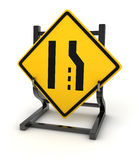 Road sign - road narrows Stock Photography