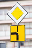 Road sign road with priority Royalty Free Stock Photo
