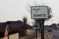 Road sign, road sign Welcome to SOWETO at the entrance to the suburb of Johanessburg - Soweto Stock Photo
