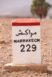 Road sign on the road to Marrakesh in Morocco Stock Image