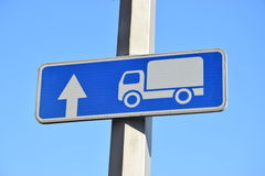 Road sign ROAD FOR TRUCKS Royalty Free Stock Photography