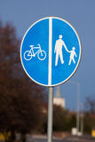 Road sign road walking cycling Royalty Free Stock Photo