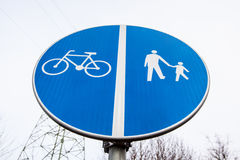 Road sign road walking cycling Stock Photo