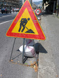 Road sign roadworks Royalty Free Stock Image