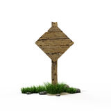 Road sign romb. The old wooden road sign Royalty Free Stock Photos