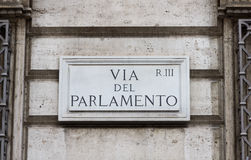 Road sign in Rome. Photo taken in Rome in the famous Parlamento street, Italy stock photo