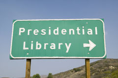 Road sign for the Ronald Reagan Presidential Library, Simi Valley, CA Royalty Free Stock Photography