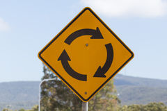 Road Sign, Roundabout. Australian road sign, Roundabout approaching Royalty Free Stock Photography