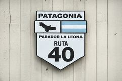 Road sign on Ruta 40 in Patagonia, Argentina Stock Image