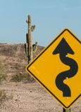 Saguaro Cactus and road sign. Road sign and Saguaro Cactus in the Sonoran Desert,  Southwest USA Stock Photo