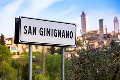 Road sign of San Gimignano Royalty Free Stock Photography