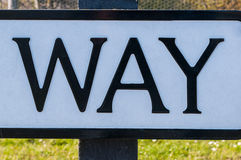 Road sign saying that way and this way and another way Stock Images