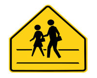 Road sign - school crossing with lines. Isolated Stock Photo