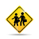Road sign school zone icon. Vector illustration eps 10 Royalty Free Stock Photos