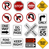 Road Sign Set Stock Images