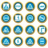 Road Sign Set icons blue circle set Stock Images