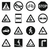 Road Sign Set icons, simple style Stock Photography