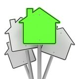 Road Sign in Shape Houses. Royalty Free Stock Photo