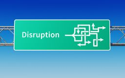 Road sign with multiple paths to disruption Royalty Free Stock Photo