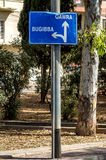 Traffic sign - Malta. Road sign showing the way to some popular destinations - Bugibba, Malta Royalty Free Stock Photo