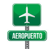 Road sign shows direction of a nearby airport. Illustration. spanish Royalty Free Stock Photos