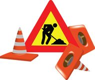 Road sign with signs of interruption with worker Royalty Free Stock Photos
