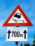 Road sign skidding Royalty Free Stock Image