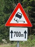 Road sign skidding Stock Photography