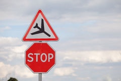 Road sign. On the sky background royalty free stock photos