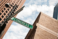 Road sign among the skyscrapers in Boston Royalty Free Stock Images