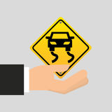 Road sign slippery car icon Stock Photo