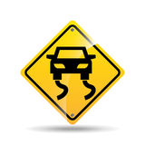 Road sign slippery car icon Stock Photos