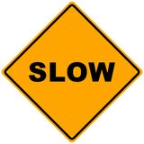 Road Sign Slow. Orange road sign slow -illustration Stock Images