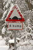 Road Sign in the Snow Royalty Free Stock Image