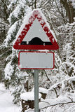Road Sign in the Snow Royalty Free Stock Photography