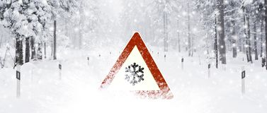 Road sign in Snow royalty free stock images