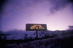Road Sign in Snowy Area, Northern California Stock Image