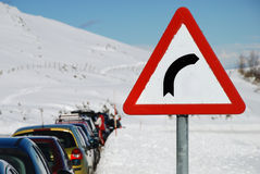 Road sign. In a snowy landscape Stock Images
