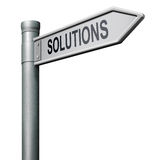 Road sign solutions. Find solutions road sign indicating way to problem solving royalty free illustration