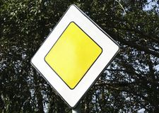 Road sign speed limit on the road stock image