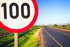 Road sign for speed limit Stock Photo
