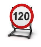 Road sign - speed limit 120 Stock Photo