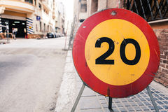 Road sign 20 speed limit. Stock Image