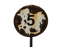 Road sign, speed limit 5, rusty stock images